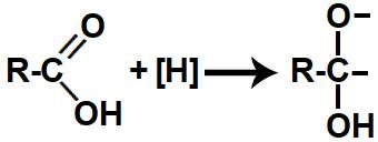 Representação das valências livres formadas na redução do ácido carboxílico