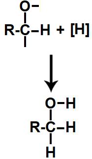 Equação da formação do álcool na redução do ácido carboxílico