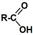Representação da carboxila, grupo que identifica um ácido carboxílico