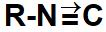 Representação do cianeto, grupo que identifica um isonitrilo