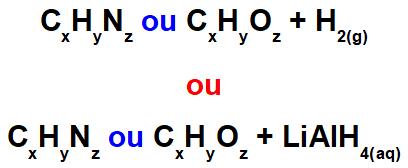 Representação geral dos reagentes de uma reação orgânica de redução