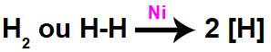 Equação química de formação de hidrogênios nascentes a partir da ação catalítica no H2