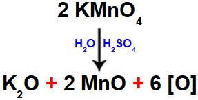Equação dos produtos do reagente de Bayer em meio ácido.