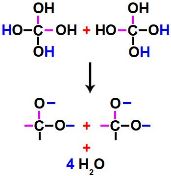 Formação de moléculas de água a partir de hidroxilas de um álcool gemino.