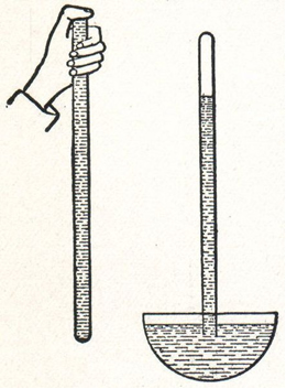 Experimento de Torricelli com tubo de mercúrio para determinar a pressão atmosférica.