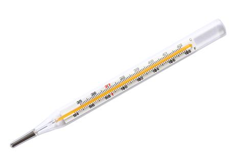 Termômetro de mercúrio com escala Celsius e a escala Fahrenheit