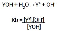 Expressão da constante de ionização de uma base.