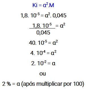 Cálculo do grau de ionização de um ácido fraco.