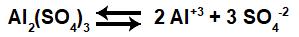 Equações que representam o equilíbrio de dissociação do Al2(SO4)3.