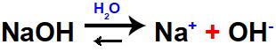 Equação que representa a dissociação de uma base forte.