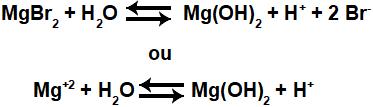 Equações que representam o equilíbrio de hidrólise salina ácida do MgBr2.