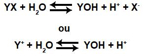 Equações que representam o equilíbrio de hidrólise salina ácida de um sal qualquer.