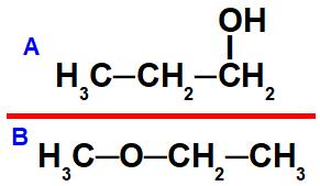 Estruturas de um álcool e um éter que apresentam isomeria plana de função.
