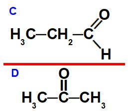 Estruturas de um aldeído e uma cetona que apresentam isomeria plana de função.