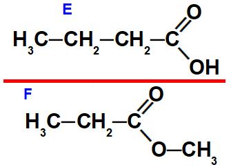 Estruturas de um ácido carboxílico e um éster que apresentam isomeria plana de função.
