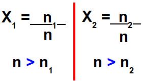 Fórmula e relações de grandeza na fração molar.