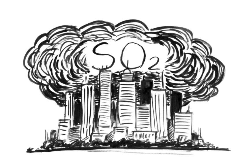 Os centros urbanos e centros industriais são uns dos principais responsáveis pela emissão de SO2 na atmosfera.