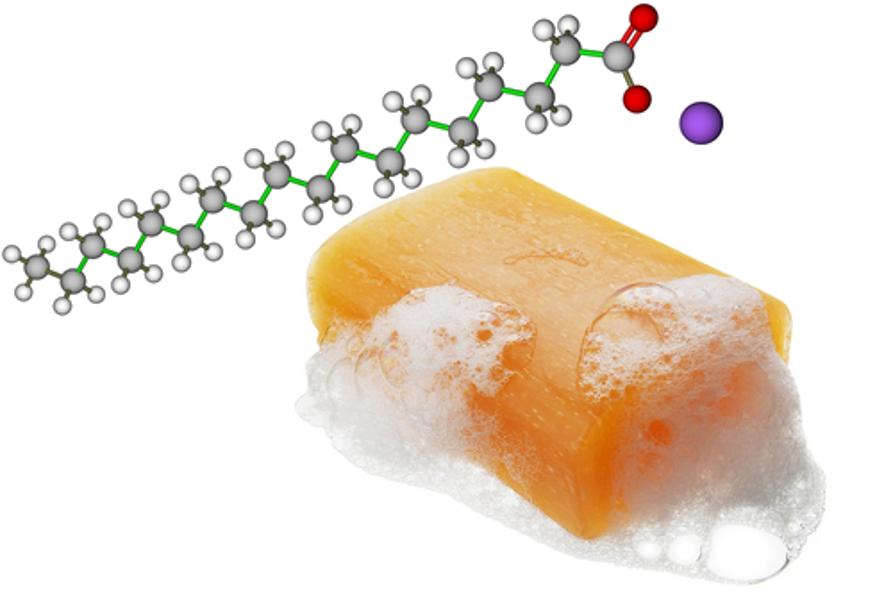 A composição química do sabão é basicamente algum sal de ácido carboxílico