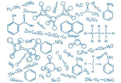 Acima há vários tipos de fórmulas químicas, tais como: molecular, estrutural plana, de traços, estrutural simplificada e de traços e bolas