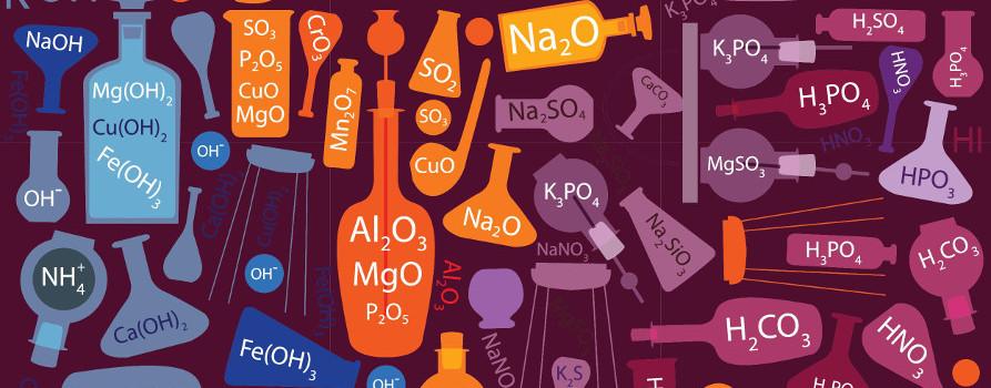 Acima temos as fórmulas químicas das substâncias inorgânicas