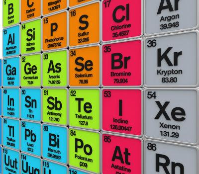 Alguns dos elementos químicos representativos da Tabela Periódica