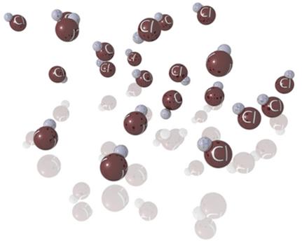 As moléculas polares do HCl mantêm-se unidas por meio da força de dipolo permanente