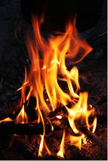 De onde veio a energia liberada na combustão dessa fogueira?