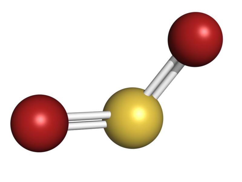 Estrutura molecular do dióxido de enxofre.