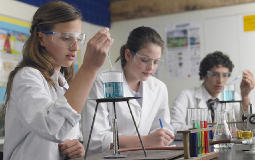 Estudantes realizando experimento em aula de Química