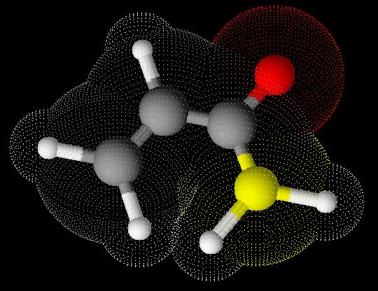 Fórmula estrutural da acrilamida em 3D