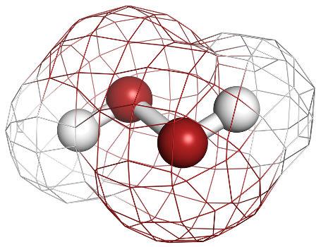 Fórmula estrutural do peróxido de hidrogênio, produto de toda reação com peróxidos
