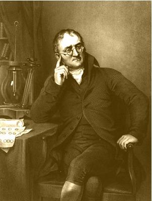 Gravura de 1823 mostra John Dalton, seu equipamento de laboratório e os símbolos químicos de Dalton nos papéis à sua frente