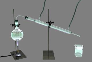 Ilustração de destilação conforme costuma ser realizada em laboratório