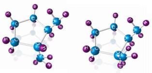 Modelos de moléculas trans-1,2-dimetilciclopentano e cis-1,2-dimetilciclopentano, respectivamente
