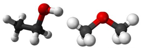 O etanol e o metoximetano são isômeros