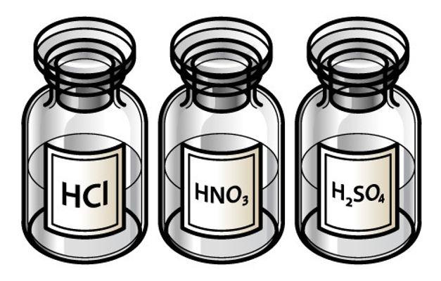 Os ácidos nítrico, sulfúrico e clorídrico são exemplos de ácidos fortes