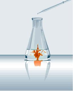 Precipitado de iodo formado em reação entre água de cloro e iodeto de potássio