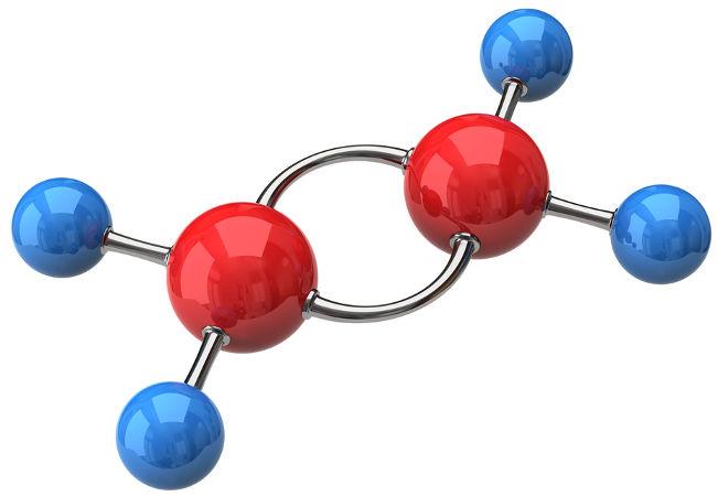 Representação estrutural do eteno, um hidrocarboneto insaturado de cadeia aberta