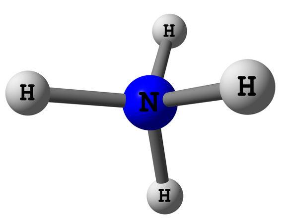 Representação molecular do cátion amônio