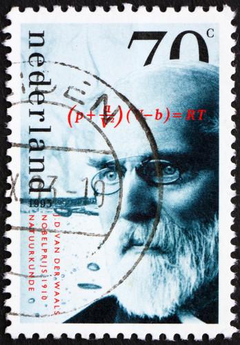 Selo impresso na Holanda, por volta de 1993, mostra Van der Waals, o cientista que desenvolveu importantes estudos sobre as forças intermoleculares*