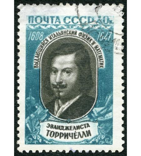 Um selo impresso em 1959, na extinta URSS, mostra Evangelista Torricelli (1608-1647), o primeiro cientista a medir a pressão atmosférica*